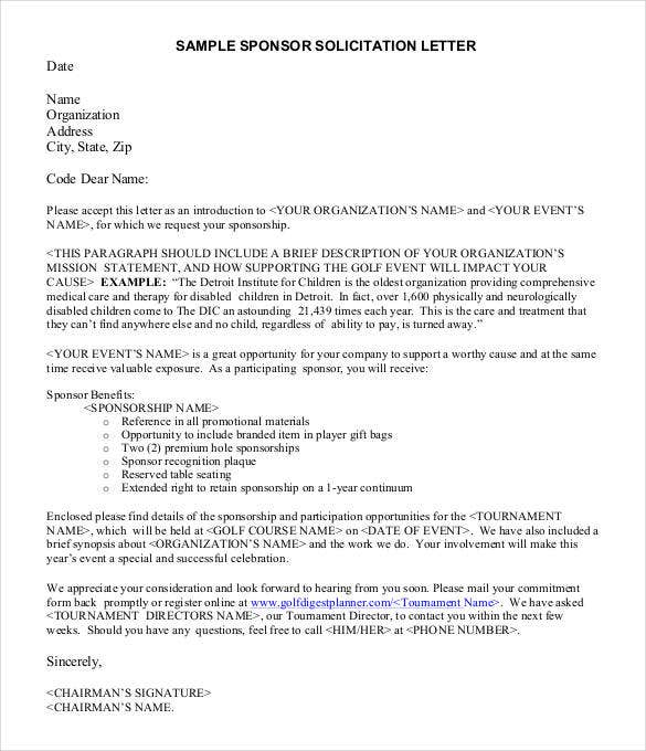 sample sponsor solicitation letter
