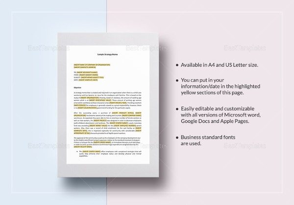 sample strategy memo template