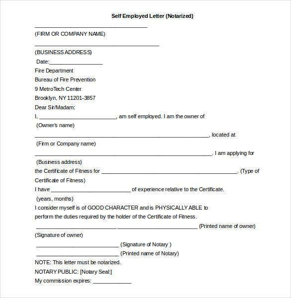 self empolyment notarized letter word document1