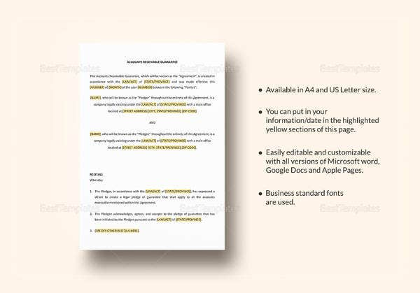 simple-account-receivable-guarantee-template