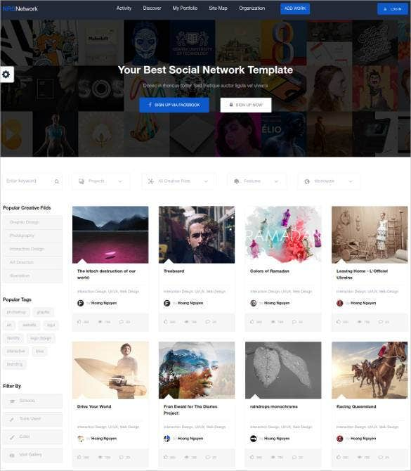 24 social media website themes templates free premium templates