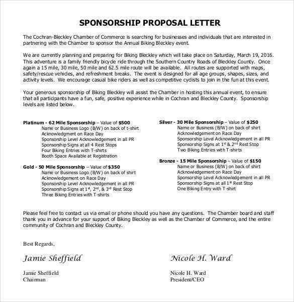Formal Sponsorship Proposal Letter  Letter Of Sponsorship Template