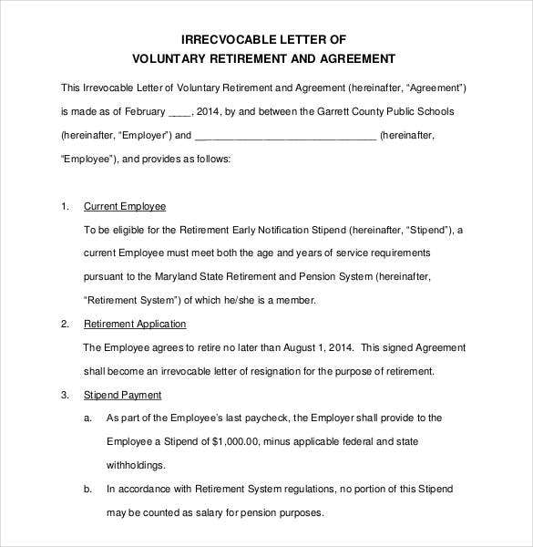 Template For Letter Of Voluntary Retirement And Agreement