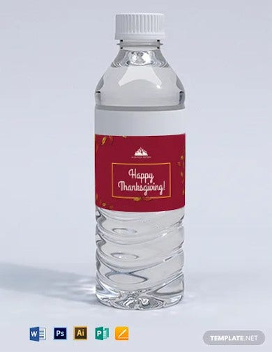 thanksgiving water bottle labels template