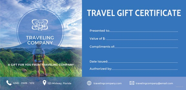12 travel gift certificate templates free sample example travel gift certificate template free download yadclub Choice Image