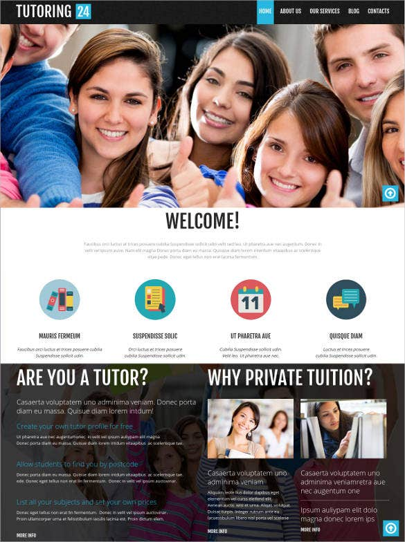 tutoring education bootstrap template