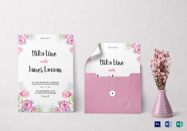 watercolor floral wedding invitation template