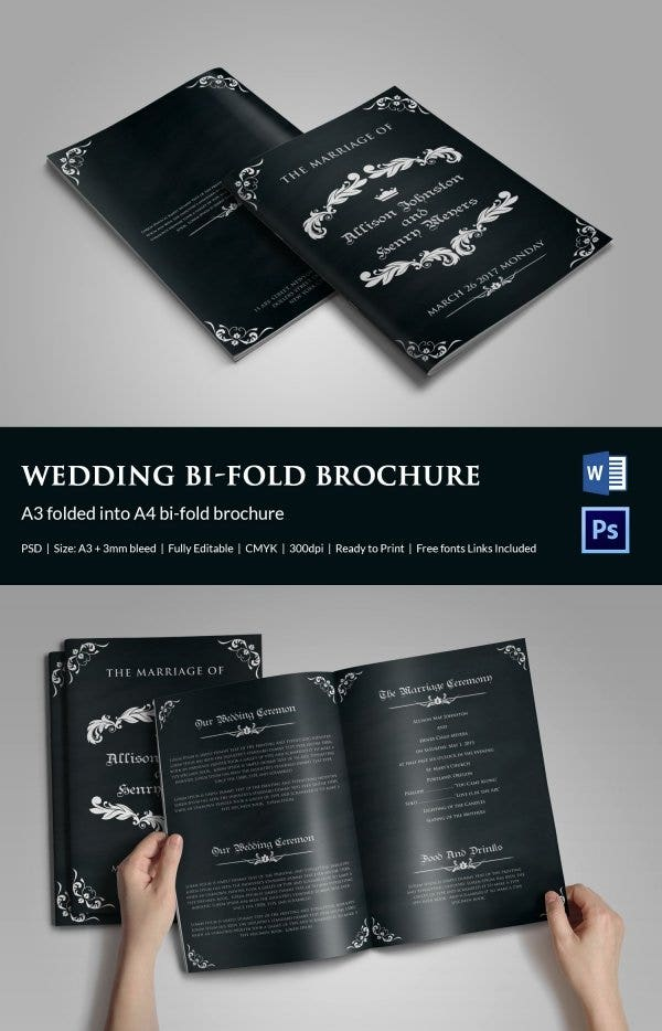 wedding program template 61 free word pdf psd documents download free premium templates. Black Bedroom Furniture Sets. Home Design Ideas