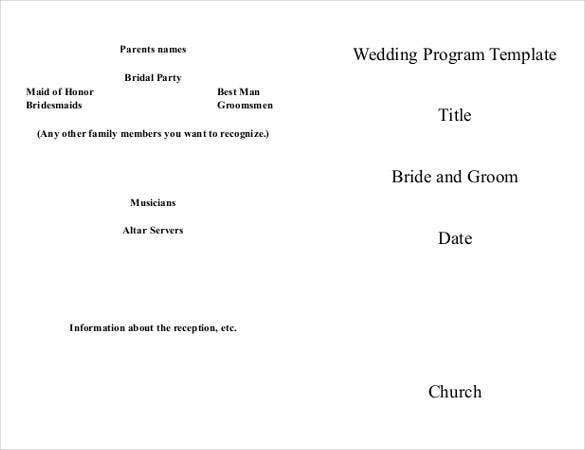 Wedding program template 64 free word pdf psd documents download free premium templates for Free printable church program templates