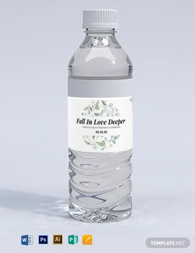 wedding water bottle label template1