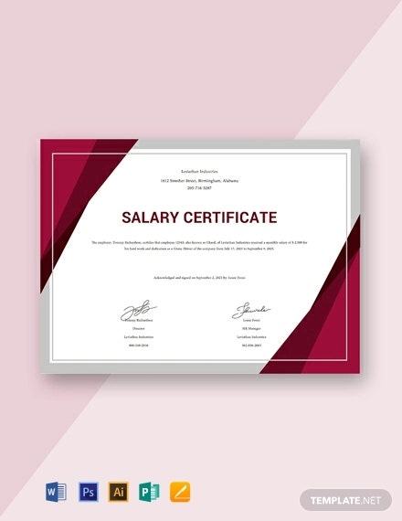 free salary certificate format