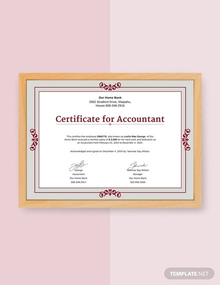 free salary certificate from accountant