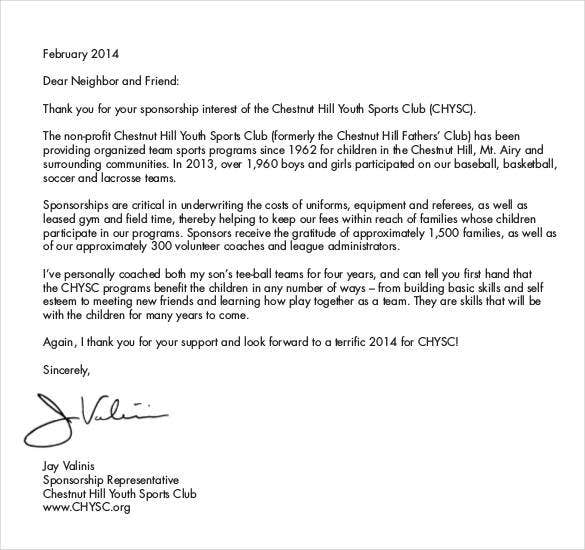 sponsorship letter for basketball team