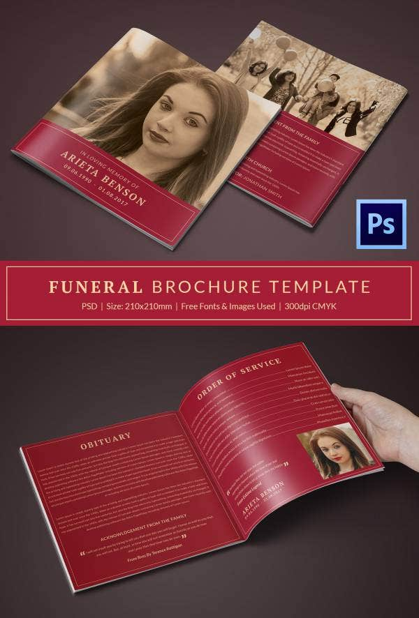Funeral Program Brochure Templates  Free Word Psd Pdf