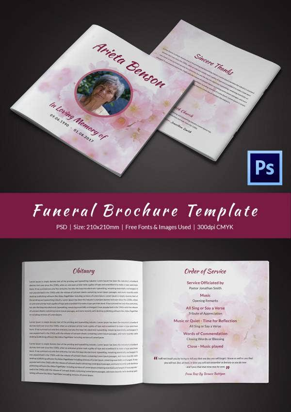 Funeral Program Brochure Templates Free Word PSD PDF - Word document brochure template
