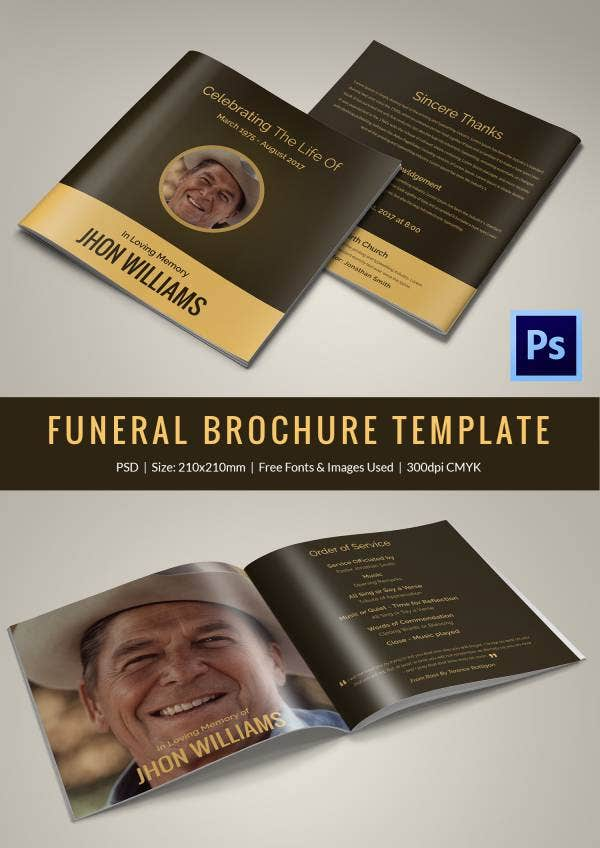 Funeral Program Brochure Templates  Free Word Psd Pdf Excel