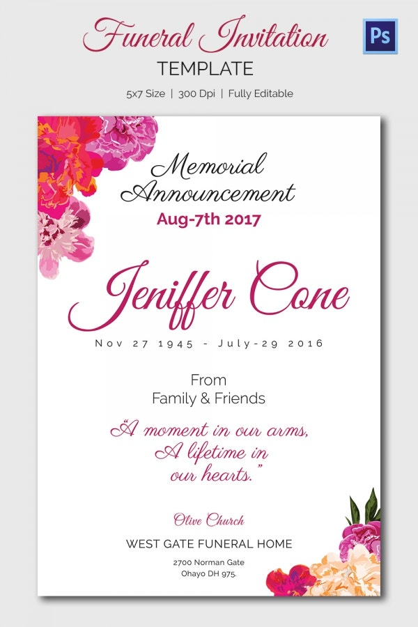 Funeral Invitation Template 12 Free PSD Vector EPS AI Format – Funeral Invitation Card