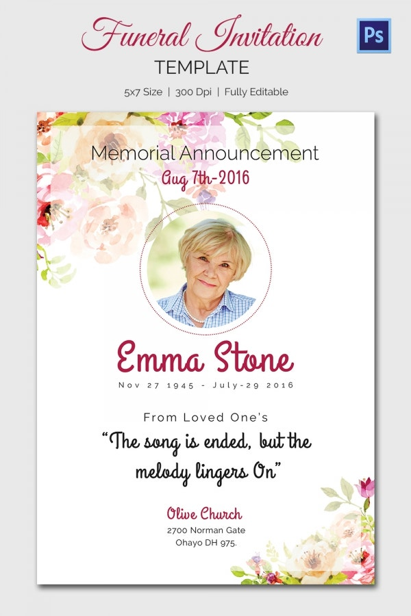 15 Funeral Invitation Templates Free Sample Example Format – Free Funeral Announcement Template