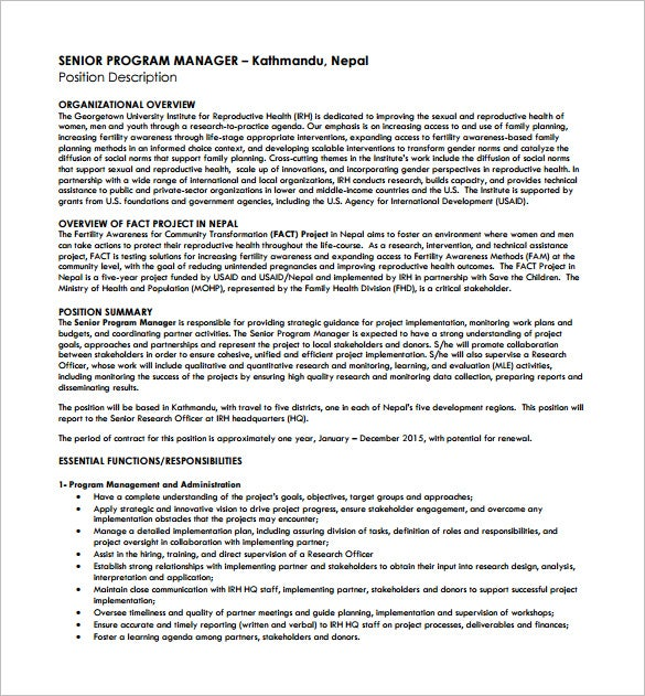 senior program manager job description free pdf template