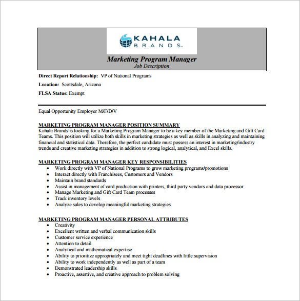 Free-Marketing-Program-Manager-Job-Description-PDF-Download Operations Manager Cover Letter Template on front end, examples for bank, ford field, template for emergency, for meeting business, template for dc,