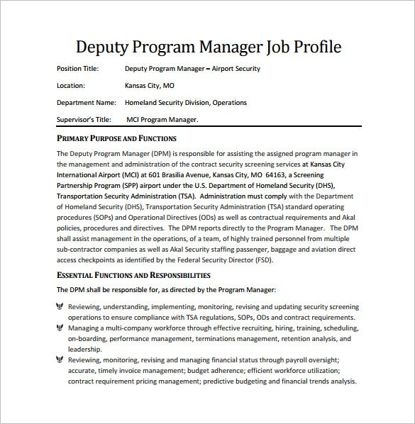 deputy program manager job description free pdf download