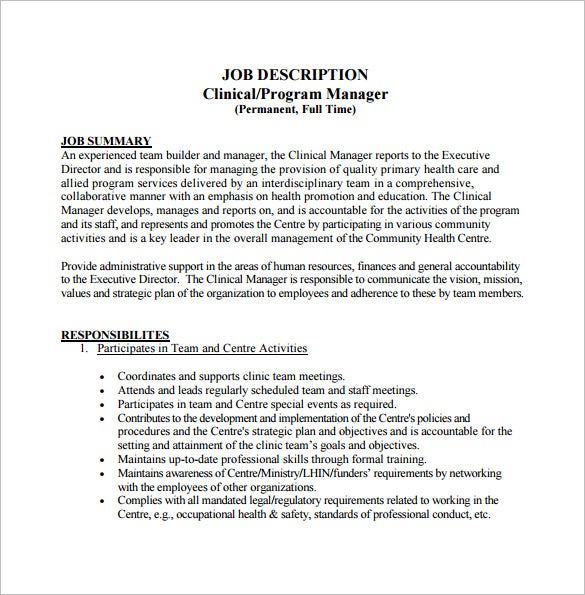 free clinical program manager job description pdf template