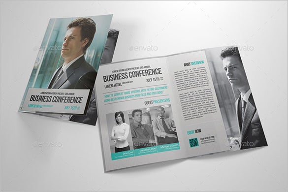 half fold business conference brochure template
