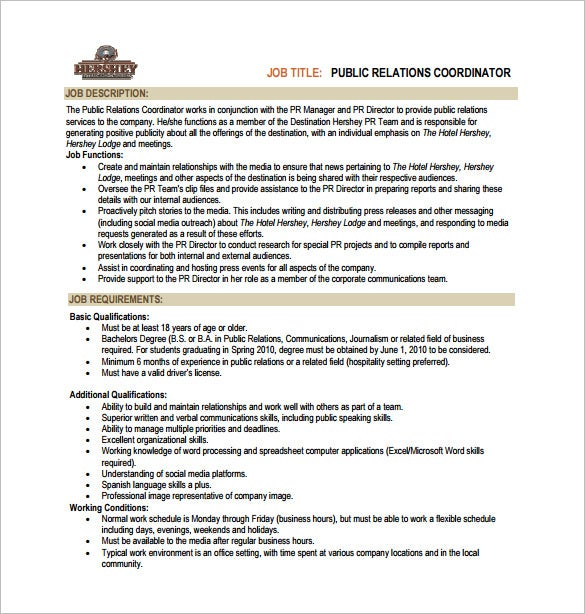 hotel public relation job description free pdf template
