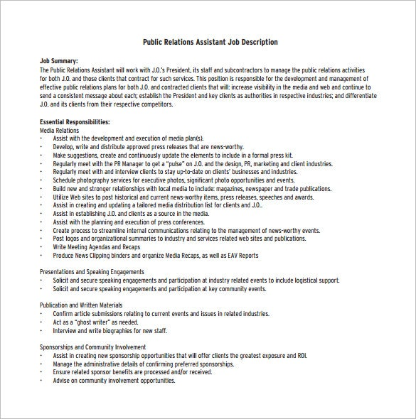 public relations assistant job description pdf free download