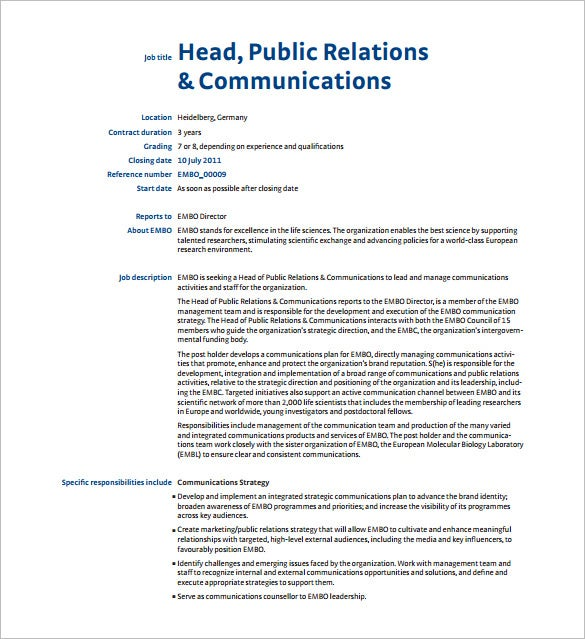 Public Relation Job Description Template   Free Word Pdf