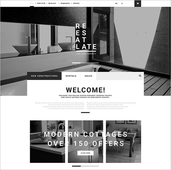 real estate opencart template download