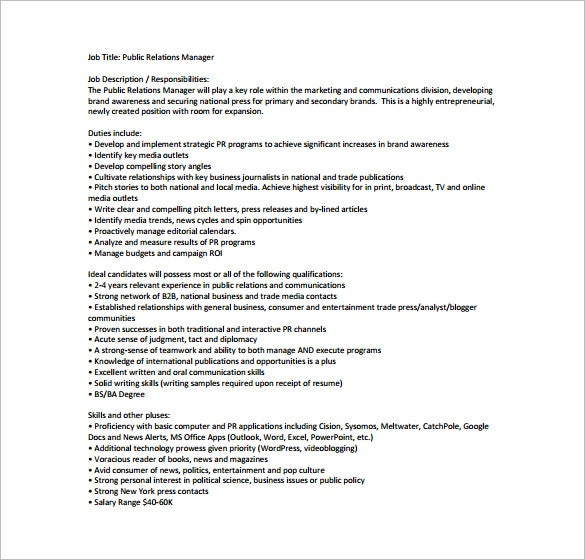 public relation manager job description free pdf template1