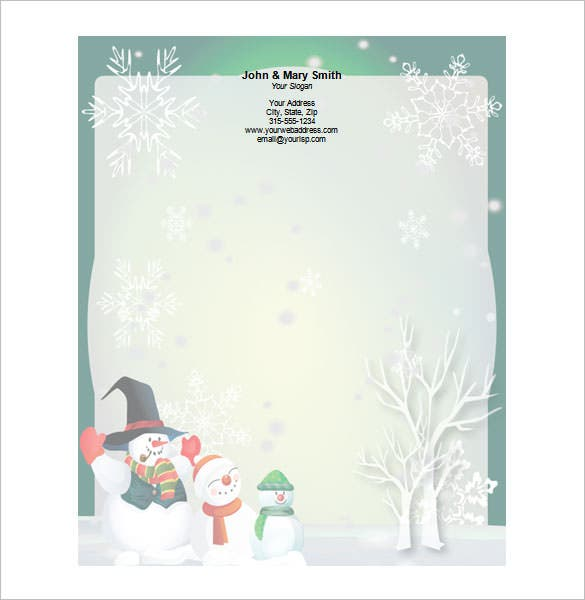 three large snowmen stationery design word doc