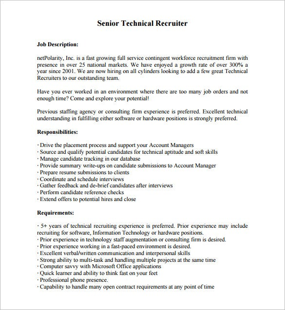 senior technical recruiter job description pdf free download