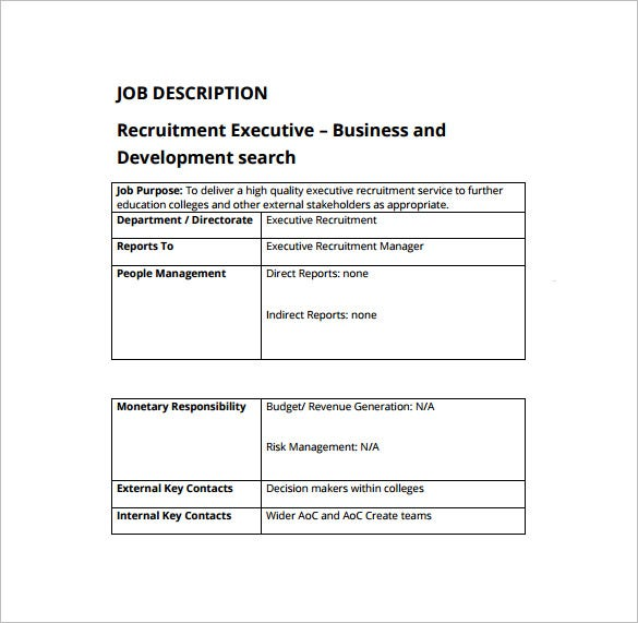 executive recruiter job description free pdf template