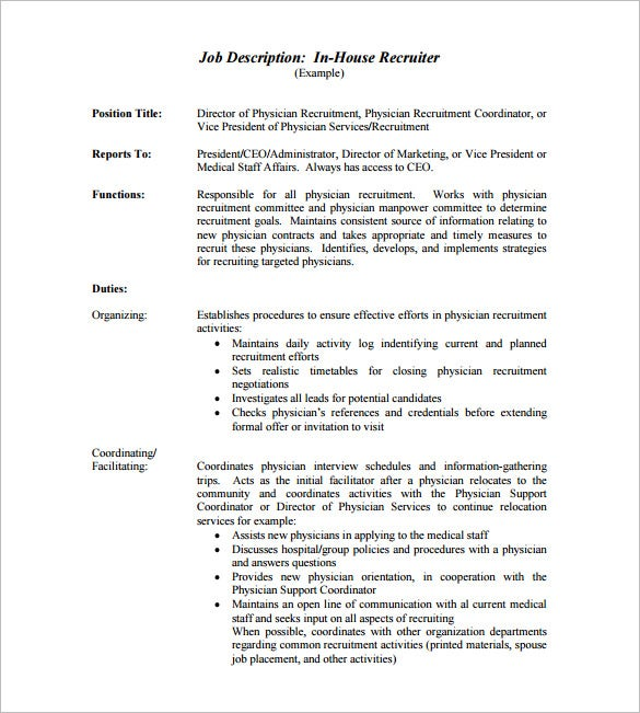 in house recruiter job description free pdf template