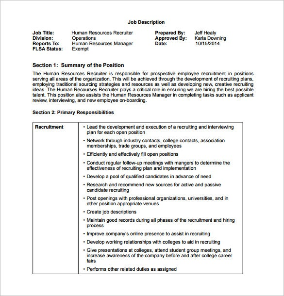 free hr recruiter job description pdf template
