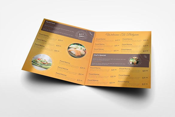 half fold menu mock up brochure