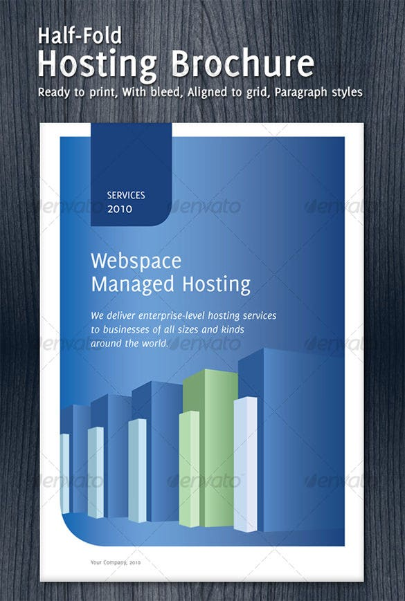 instead of opting for free tri fold brochure templates for microsoft works you can download this half fold hosting brochure for explaining how your company