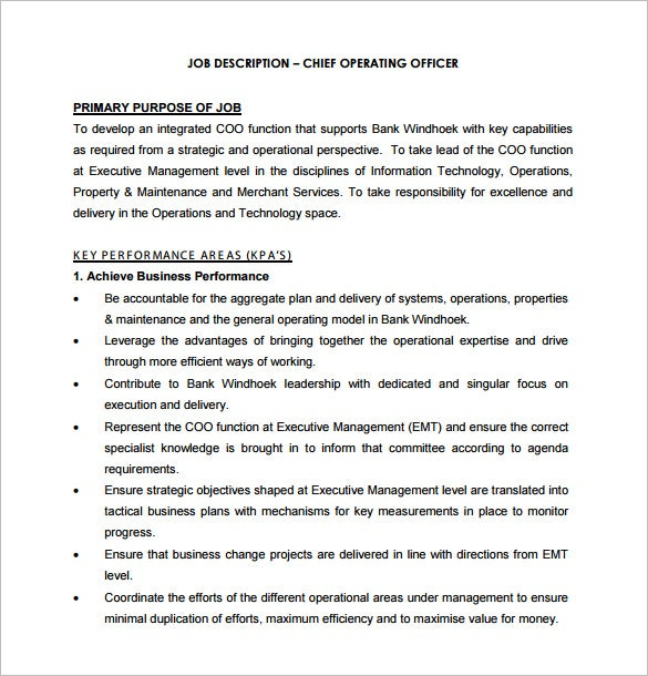 Captivating Bank Chief Operating Officer Sample Job Description Free Download Inside Chief Executive Officer Job Description