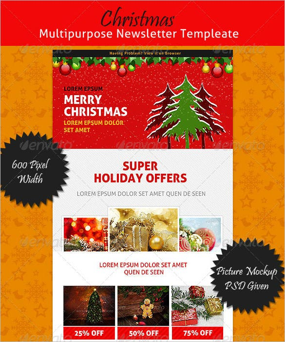 christmas multipurpose newsletter template psd format