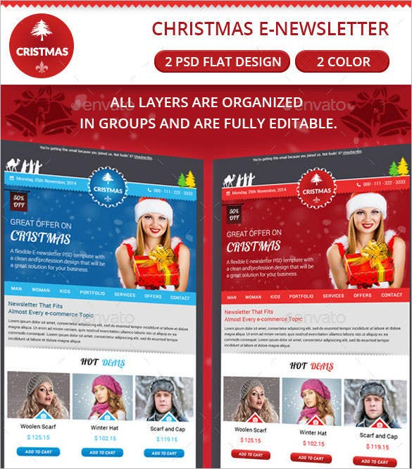 christmas email newsletter template psd download