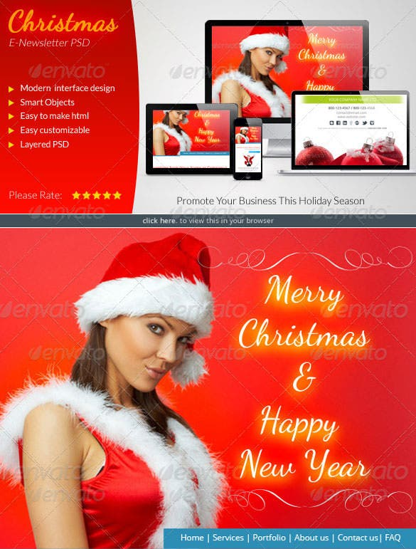 christmas e newsletter template photoshop psd