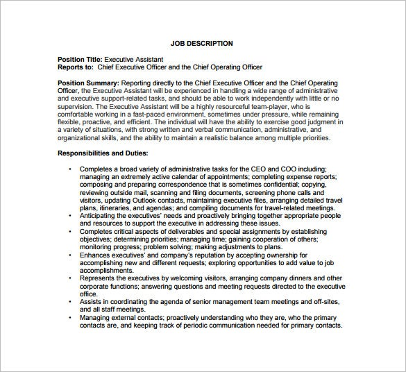 Chief Operating Officer Job Description Template – 7+ Free Word