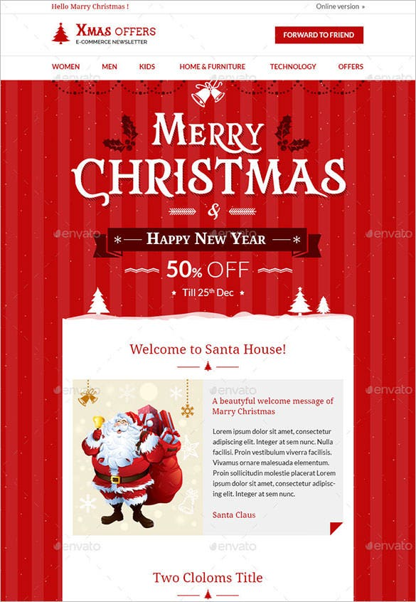 christmas shopping offers e commerce newsletter template