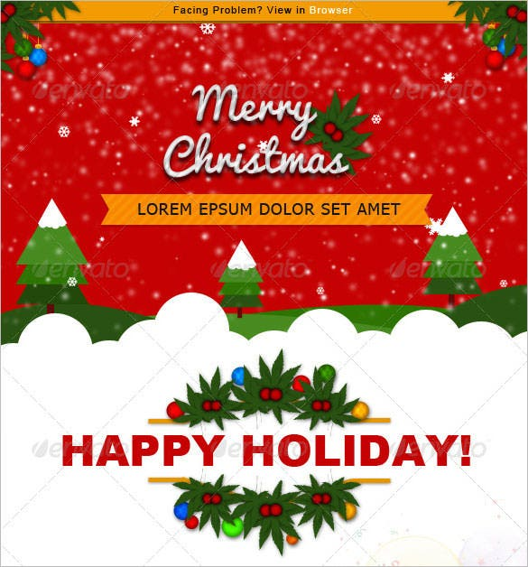 christmas e commerce newsletter template psd format