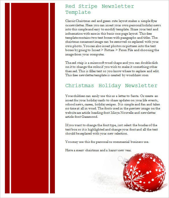 17 christmas newsletter templates free psd eps ai word format download red holiday announcement template word format spiritdancerdesigns Choice Image