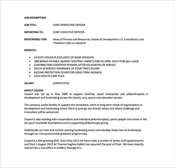 Chief Operating Officer Job Description Template   Free Word