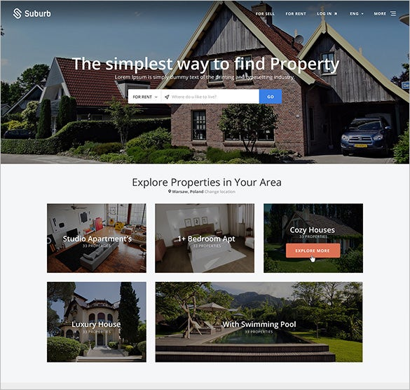 suburb real estate psd theme