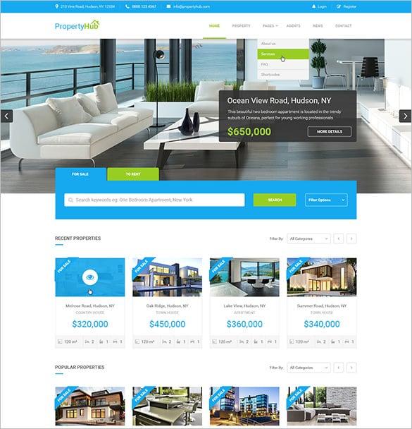 property hub real estate psd theme